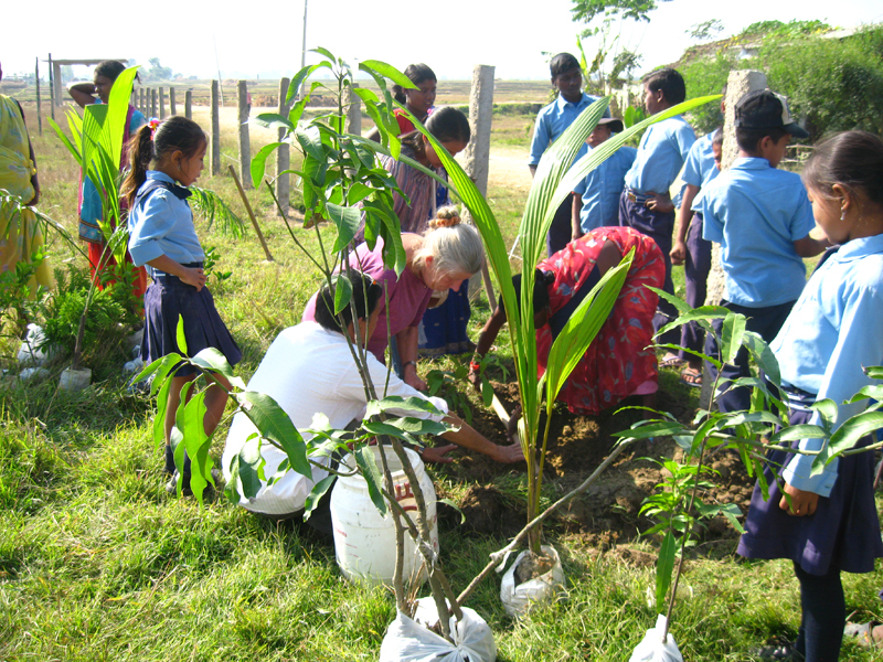 """Kvinderne fra Soiya var også med til at plante træer hele vejen rundt om området. """"Det er dejligt at de lokale kvinder hjælper til, men de her damer, de kan lave noget,"""" sagde mr. Dunghana. Kvinderne der til hverdag er syersker, har en fortid som markarbejder, så de er bomstærke! Her viser Lis Rasmussen fra Kiselgården dem, hvordan de skal plante, så træet får optimale betingelser."""