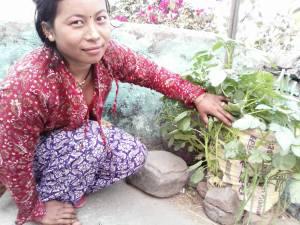 gruppemedlem har dyrket grøntsager i en sæk på sin gårdsplads.